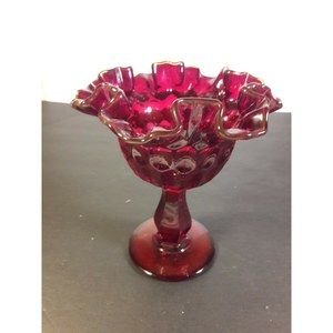 Fenton Ruby Red Thumbprint Candy Dish Basket